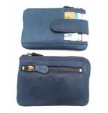 Hill Burry Hill Burry – V88862 – 5143- blauw- echt lederen - mini – kaarthouder plus sleutelhanger - vintage leder- blauw
