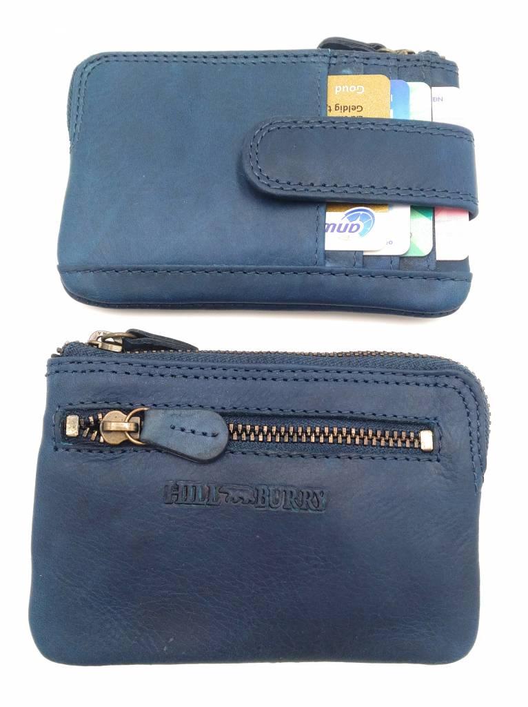 Hill Burry Hill Burry - V88862 - 5143- blue- genuine leather - mini - cardholder plus key - vintage leather blue