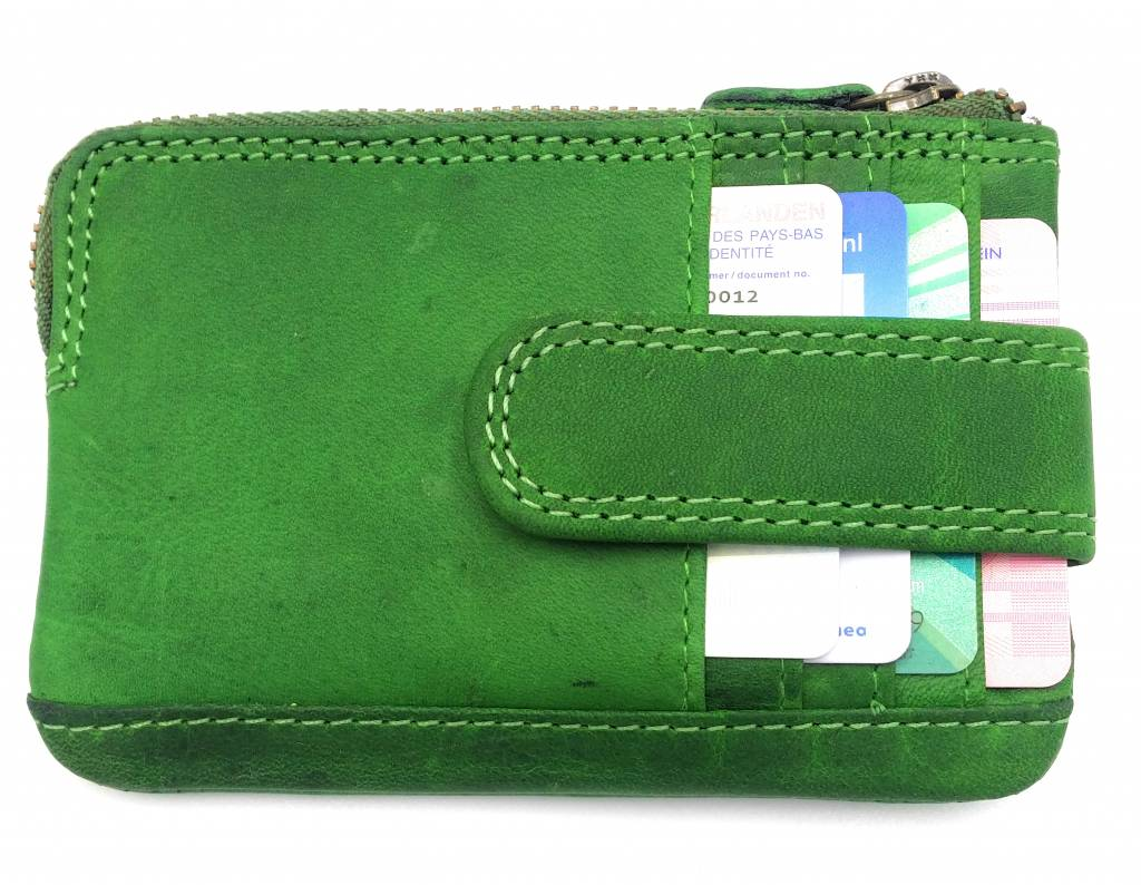 Hill Burry Hill Burry - V88862 - 5143- green genuine leather - mini - cardholder plus key - vintage leather green