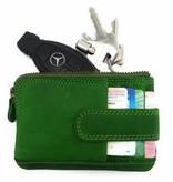 Hill Burry Hill Burry - V88862 - 5143- grün echtes Leder - Mini - Karteninhaber Plus-Taste - Vintage-Leder-grün