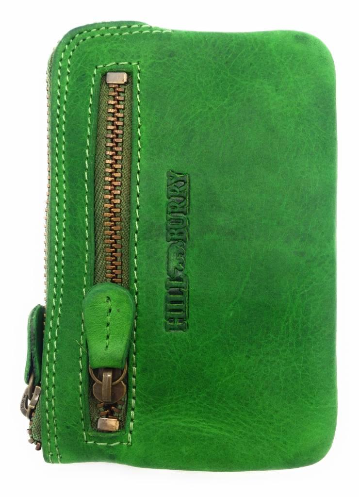 Hill Burry Hill Burry – V88862 – 5143- groen- echt lederen - mini – kaarthouder plus sleutelhanger - vintage leder-groen