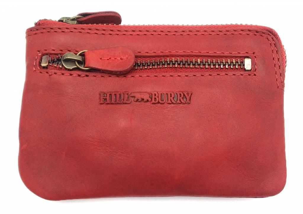 Hill Burry Hill Burry – V88862 – 5143- rood - echt lederen - mini – kaarthouder plus sleutelhanger - vintage leder- rood