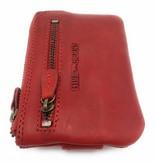 Hill Burry Hill Burry - V88862 - 5143- rot - Echt Leder - Mini - Karteninhaber Plus-Taste - Vintage-rotem Leder