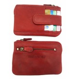 Hill Burry Hill Burry - V88862 - 5143- red - genuine leather - mini - cardholder plus key - vintage red leather
