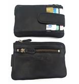 Hill Burry Hill Burry - V88862 - 5143 - schwarz - Echtleder - Mini - Karteninhaber Plus-Taste - Vintage schwarzes Leder