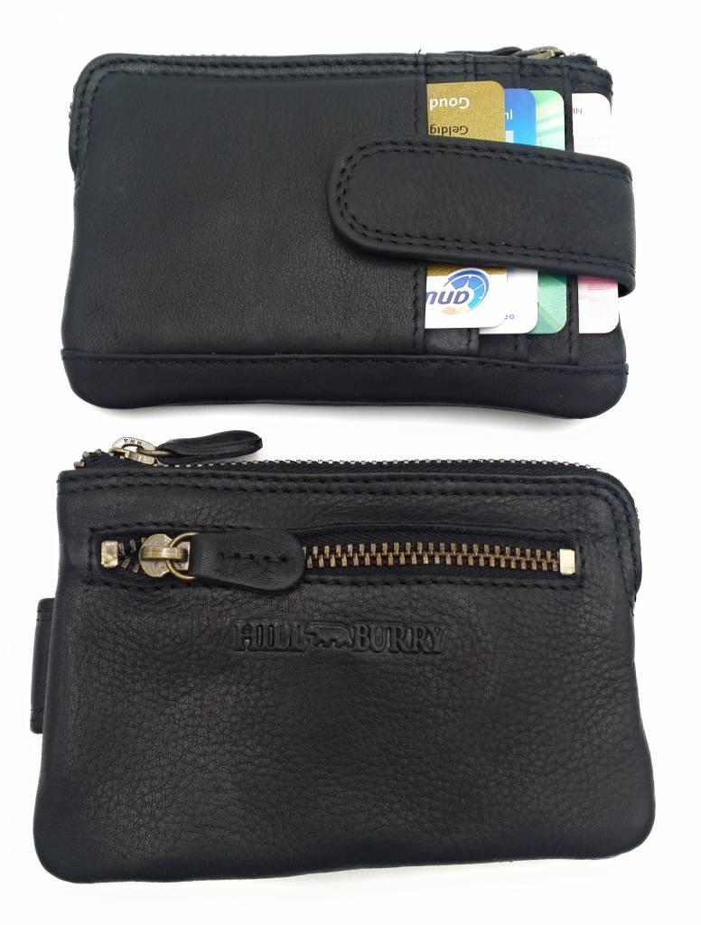 Hill Burry Hill Burry – V88862 – 5143 - zwart - echt lederen - mini – kaarthouder plus sleutelhanger - vintage leder- zwart