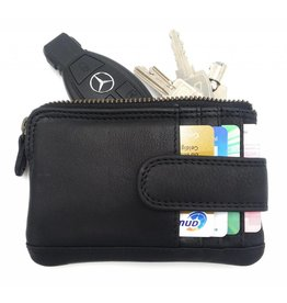 Hill Burry Hill Burry - V88862 - 5143 - black - genuine leather - mini card holder plus keychain - vintage leather