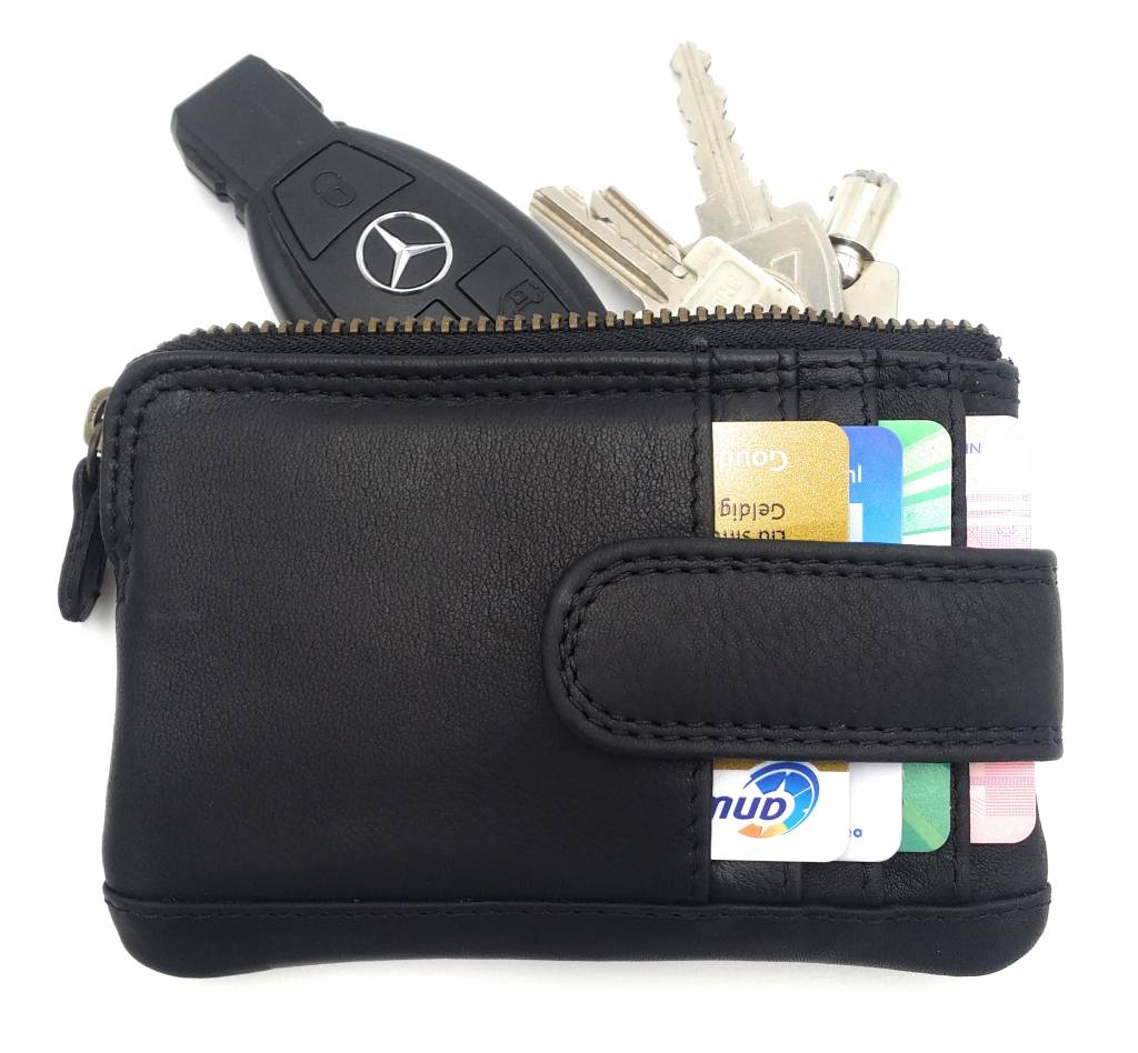 Hill Burry Hill Burry - V88862 - 5143 - black - genuine leather - mini card holder plus keychain - vintage leather black