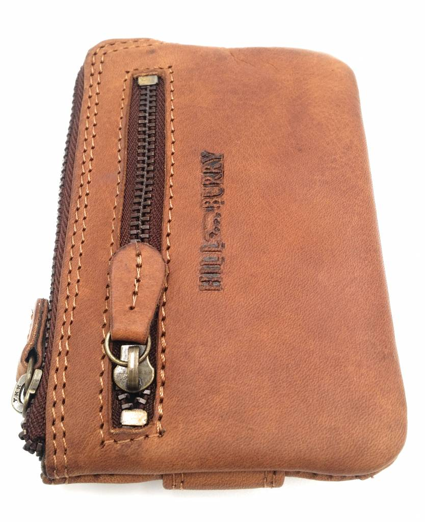 Hill Burry Hill Burry - V88862 - 5143 - brown / cognac - genuine leather - mini - cardholder plus key - vintage brown leather
