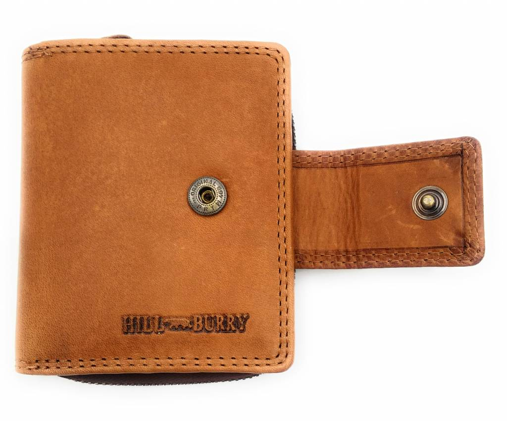 Hill Burry Hill Burry - VL777012 - 5026 - echt leder - portemonnee - rits - bruin
