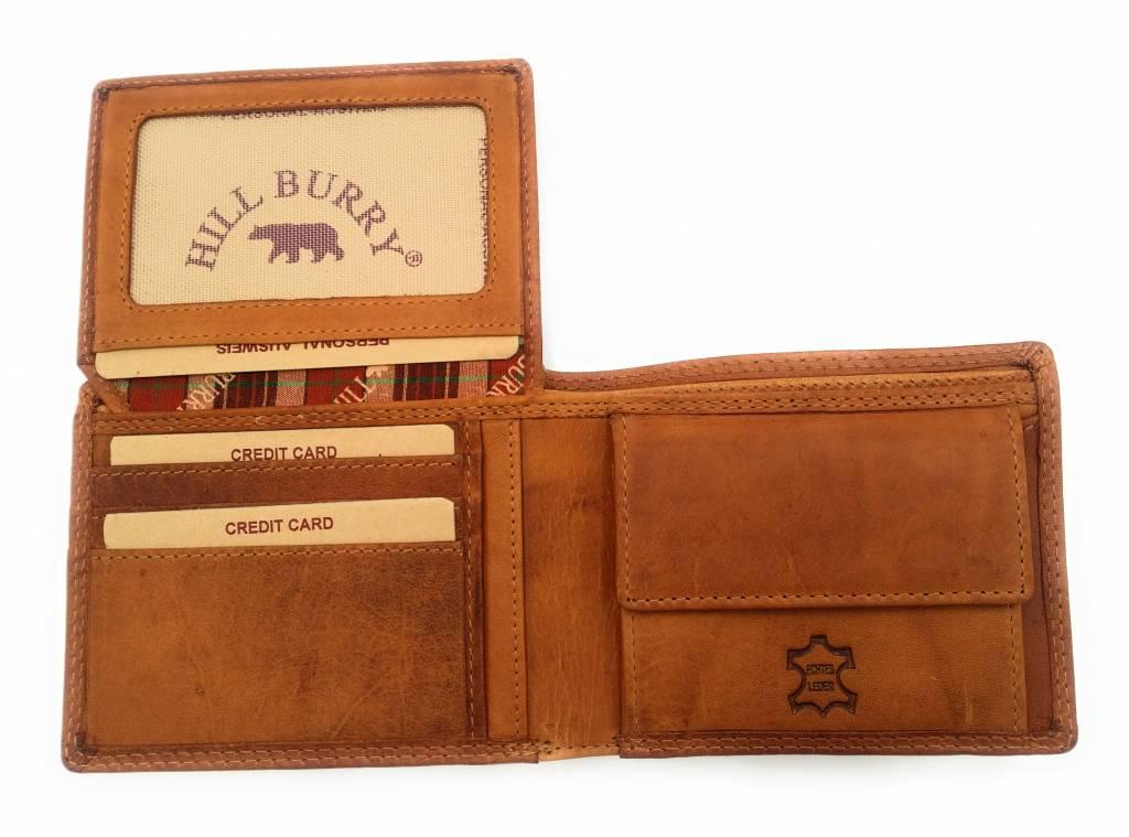 Hill Burry Hill Burry – V888100 – 5103W – echt lederen – heren portemonnee – bruin / cognac