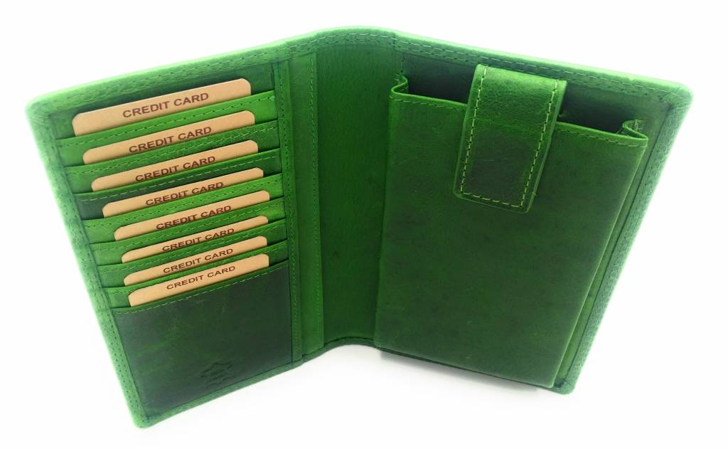 Hill Burry Hill Burry - VL777058¬ - 5157- leather wallet and phone case - green