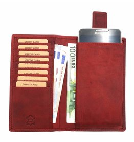Hill Burry Hill Burry - VL777058¬ - 5157- leather wallet and phone case - red