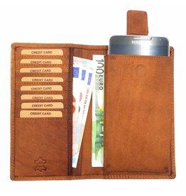 Hill Burry Hill Burry – VL777058¬ – 5157– leder portemonnee plus telefoonhoesje – bruin - cognac