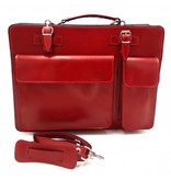 Italian leather briefcase model -201701- genuine leather - red
