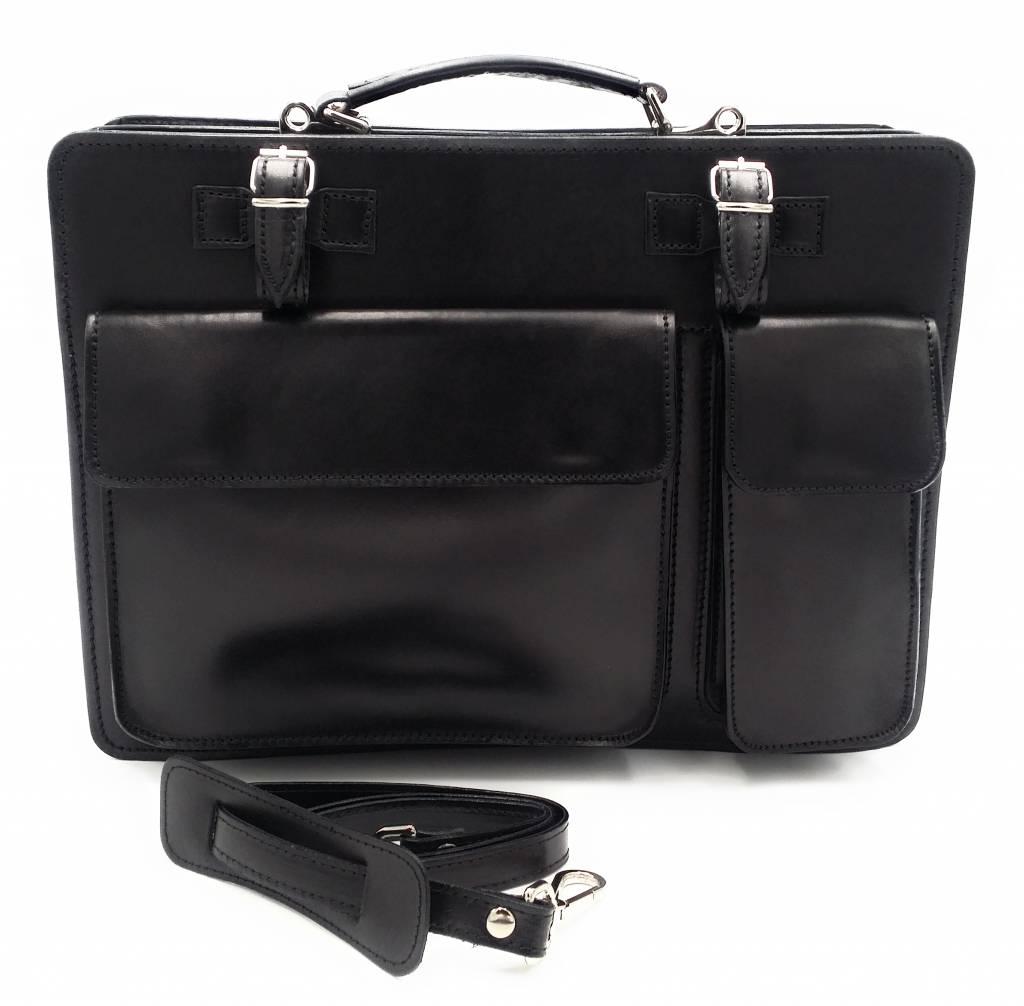 Italian leather briefcase model -201701- genuine leather - black
