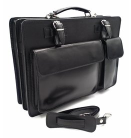Italian leather briefcase model -201701- genuine leather - black