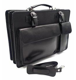 Italienischen Leder-Aktentasche Modell -201701- echtes Leder - schwarz