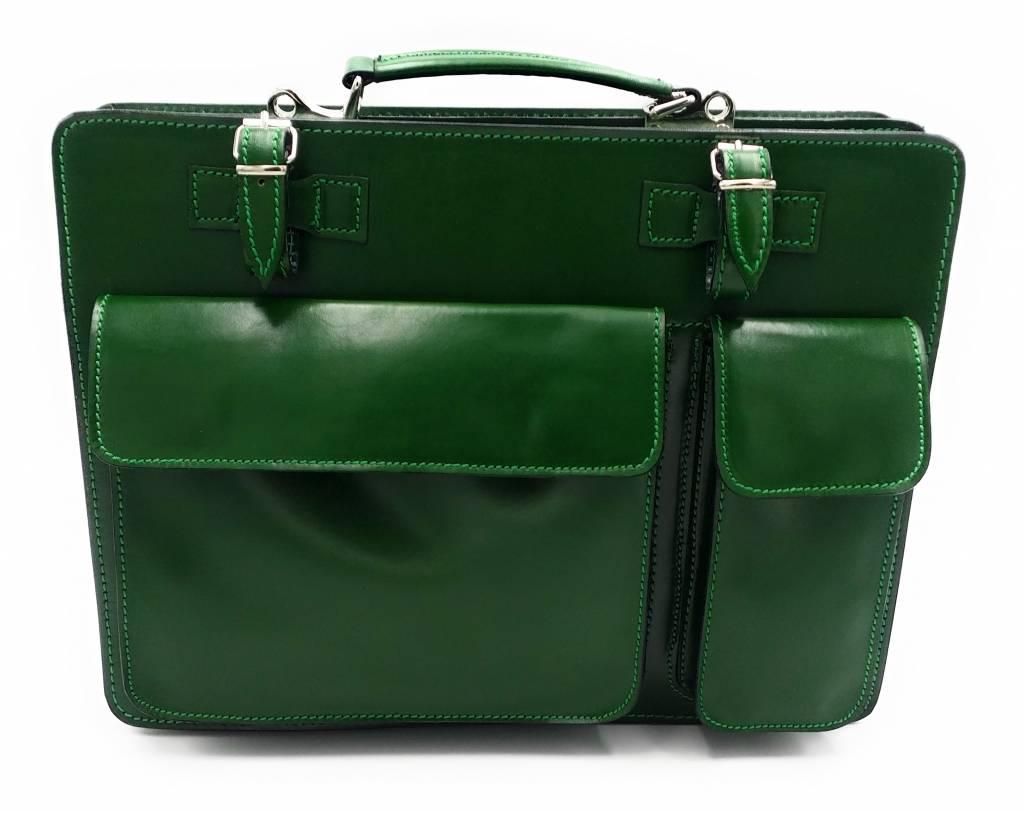 Italienischen Leder-Aktentasche Modell -201701- echtes Leder - grün