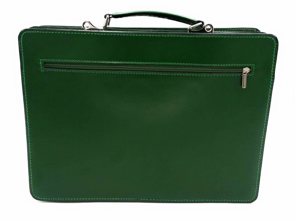 Italian leather briefcase model -201701- genuine leather - green