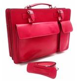 Italiaans leren aktetas model -201701- echt leder - roze - pink