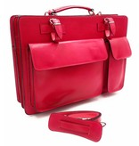Italian leather briefcase model -201701- genuine leather - pink - pink