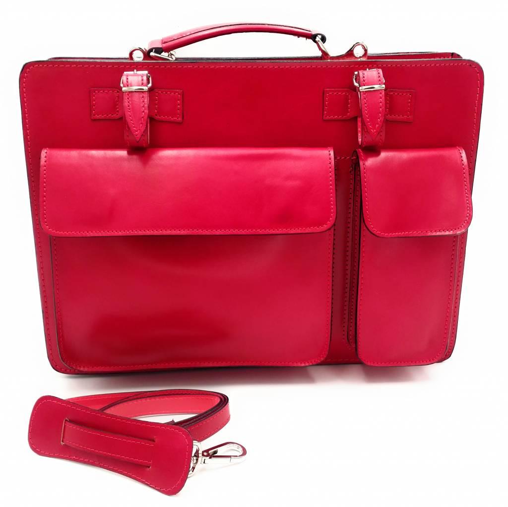 Italienischen Leder-Aktentasche Modell -201701- echtes Leder - rosa - rosa