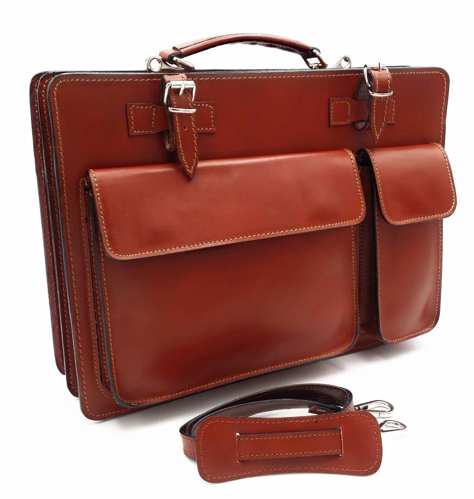 Italian leather briefcase model -201701- genuine leather - light brown