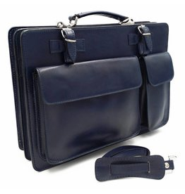 Italian leather briefcase model -201701- genuine leather - blue