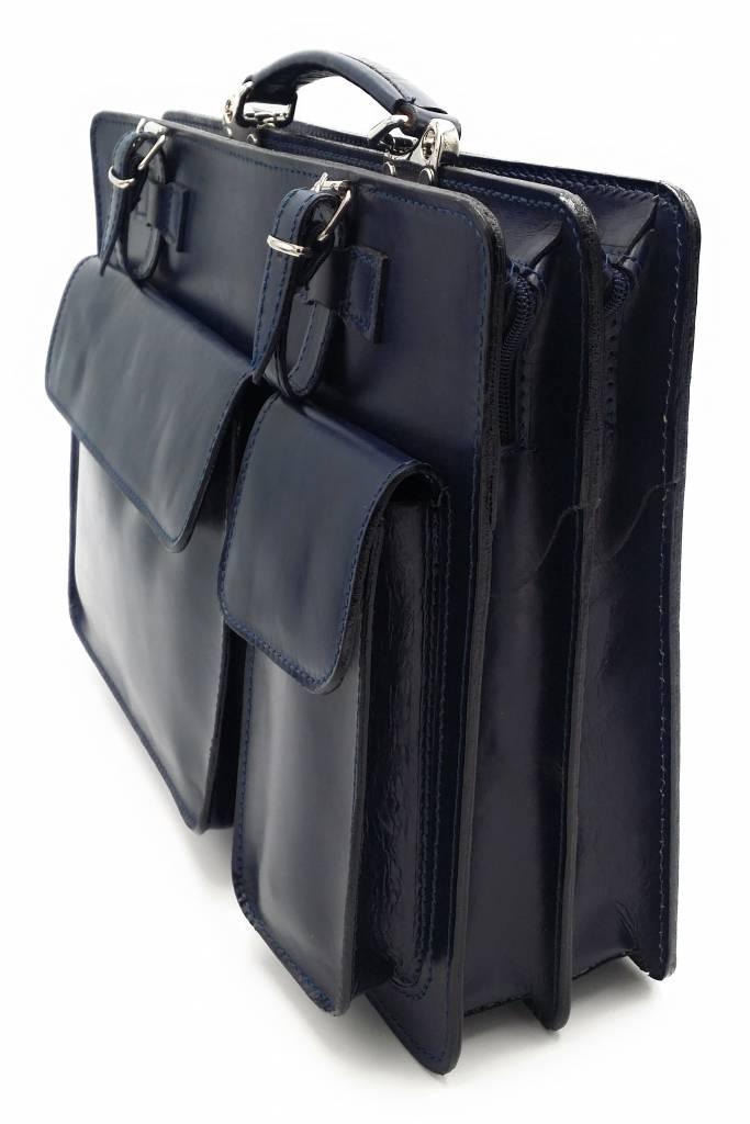 Italienischen Leder-Aktentasche Modell -201701- echtes Leder - blau