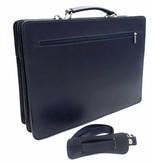 Italian leather briefcase model -201701- genuine leather - blue
