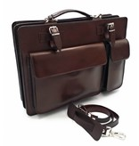 Italian leather briefcase model -201701- genuine leather - dark brown