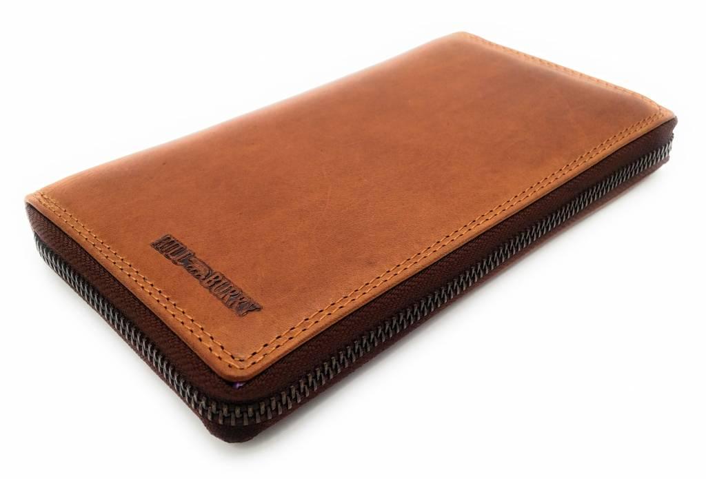 Hill Burry Hill Burry - VL77706 -2080 - echt leren - grote - dames - leder- rits portemonnee - stevig - chique - uitstraling - vintage leder- bruin