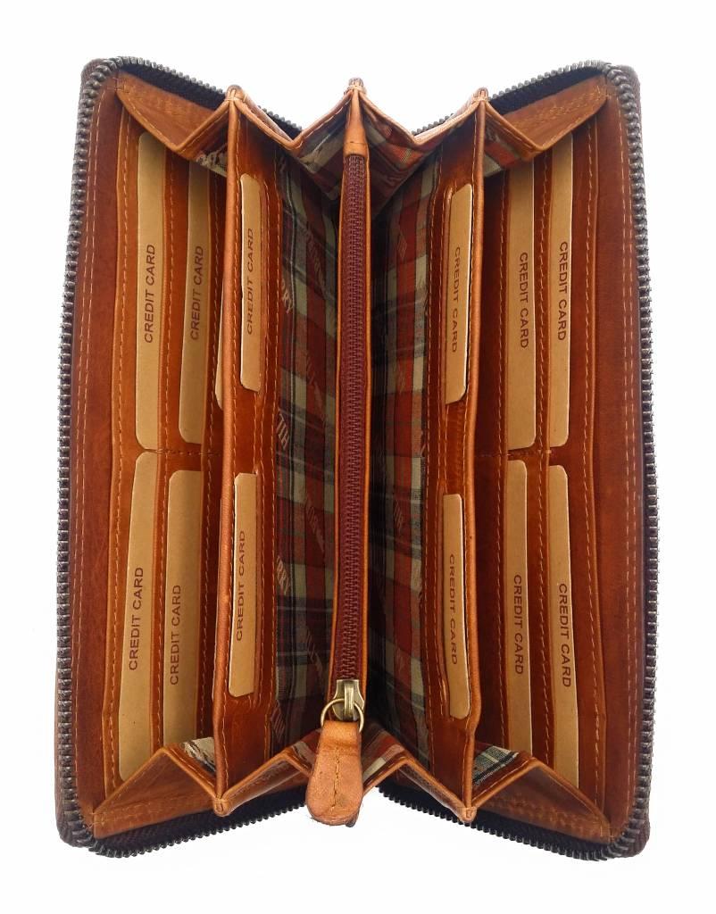 Hill Burry Hill Burry - VL77706 -2080 - wirklich lernen - big - Damen - Leder Reißverschluss Geldbörse - fest - chic - Aussehen - Vintage Leder braun