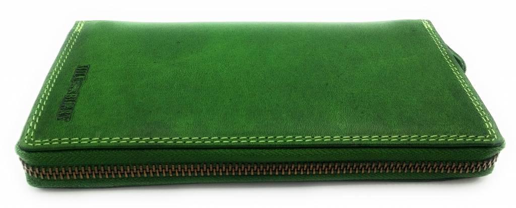 Hill Burry Hill Burry - VL77706 -2080 - wirklich lernen - big - Damen - Leder Reißverschluss Geldbörse - fest - chic - Aussehen - Vintage-Leder-grün