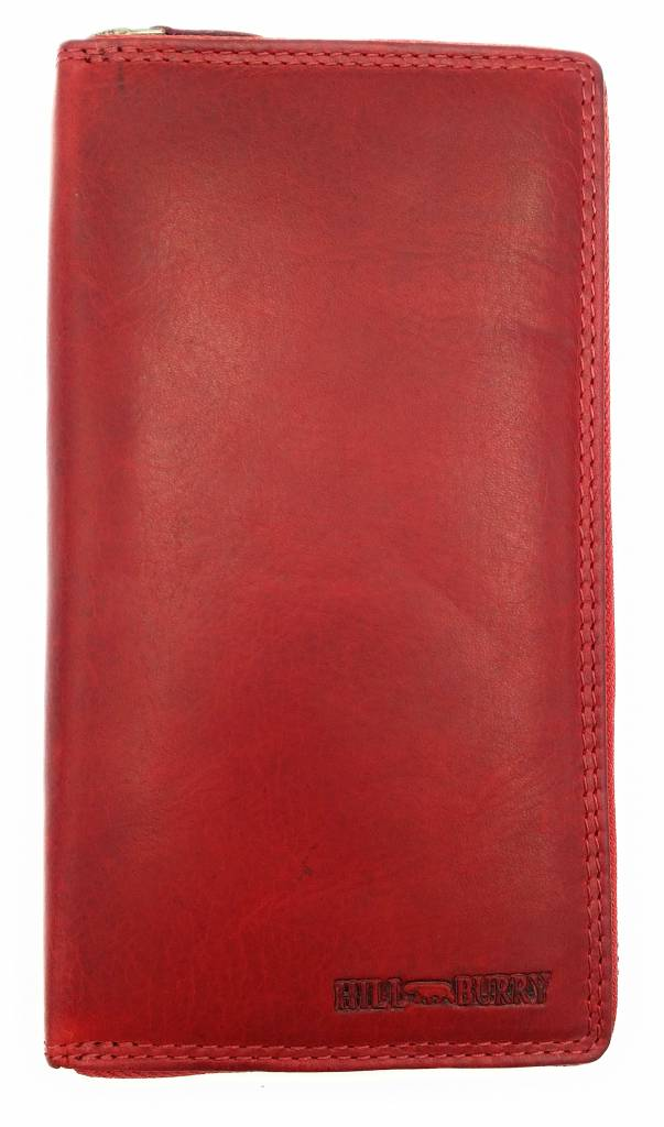 Hill Burry Hill Burry - VL77706 -2080 - really learn - big - ladies - leather zipper wallet - firmly - chic - appearance - vintage red leather