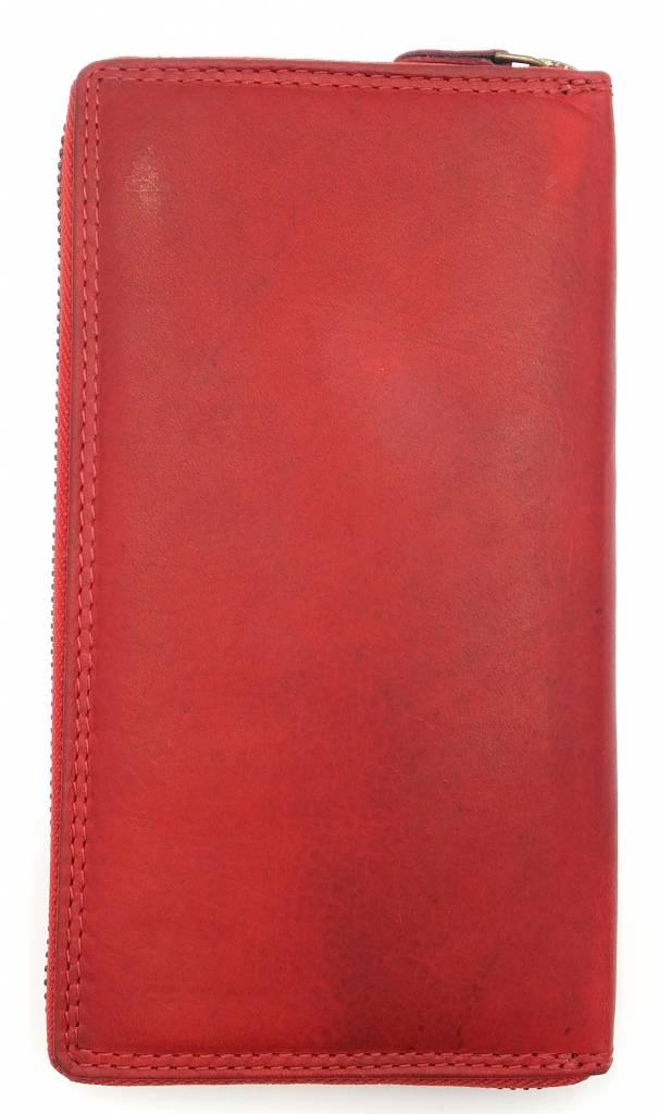 Hill Burry Hill Burry - VL77706 -2080 - wirklich lernen - big - Damen - Leder Reißverschluss Geldbörse - fest - chic - Aussehen - Vintage-rotem Leder