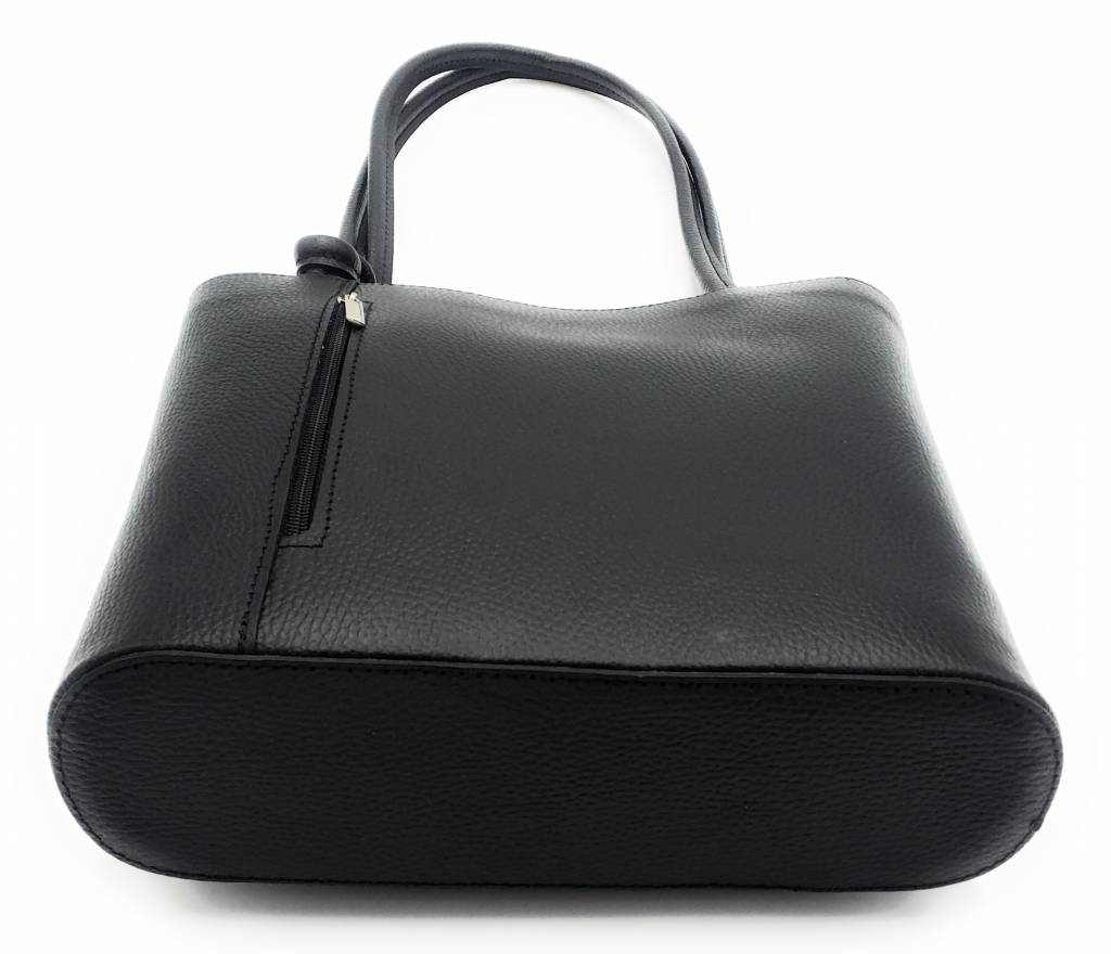 Bestseller - RZ2017 - black - real leather - 2 in 1 - shoulder bag - backpack - sturdy - high quality Italian leather- black