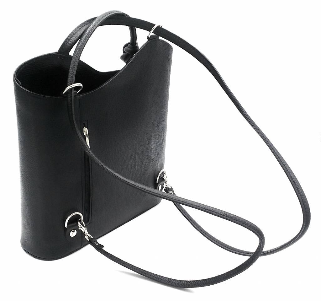 Bester Leder - RZ2017 - schwarz - echtes Leder - zwei in einem - Umhängetasche - Rucksack - solide - Qualität italienisches Leder schwarz