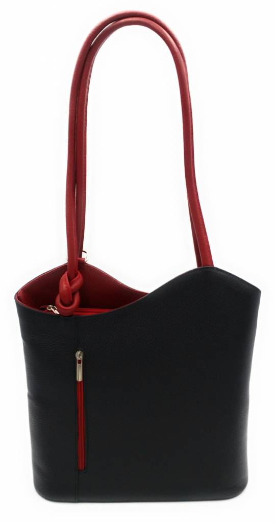 Bestseller - RZ2017 - black / red - real leather - 2 in 1 - shoulder bag - backpack - sturdy - high quality Italian leather- black / red
