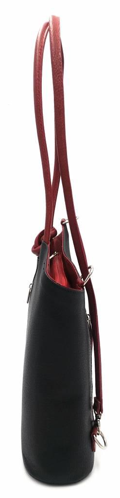 Bester Leder - RZ2017 - schwarz / rot - wirklich lernen - zwei in einem - Umhängetasche - Rucksack - solide - Qualität italienisches Leder schwarz / rot