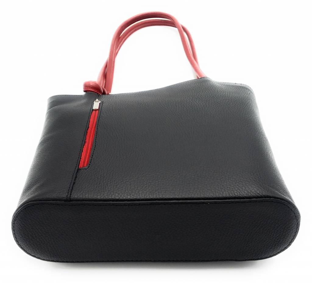 Bestleder – RZ2017 – zwart/ rood - echt leren - 2 in 1 - schoudertas – rugzak - stevig - hoge kwaliteit Italiaans leer- zwart / rood