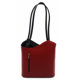 Bestseller - RZ2017 - red / black - real leather - 2 in 1 - shoulder bag - backpack - sturdy - high quality Italian leather-red / black