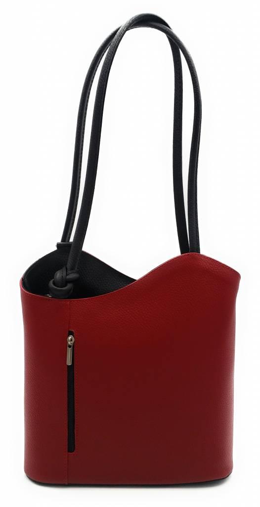 Bestleder – RZ2017 – rood / zwart - echt leren - 2 in 1 - schoudertas – rugzak - stevig - hoge kwaliteit Italiaans leer- rood / zwart