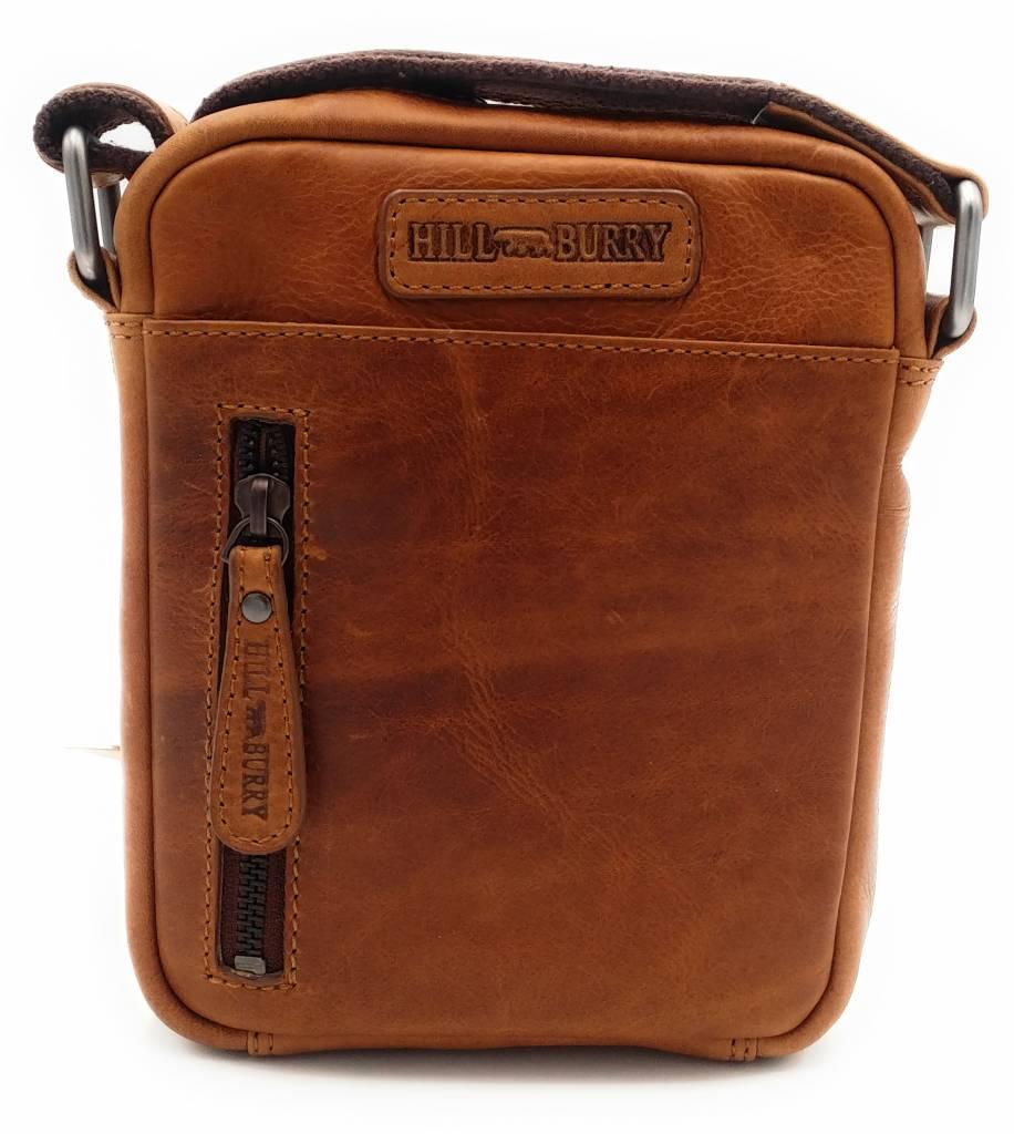 Hill Burry Hill Burry - VB10089 - 3169 - echt leren - schoudertas – crossbodytas- stevig - vintage leder- bruin /cognac
