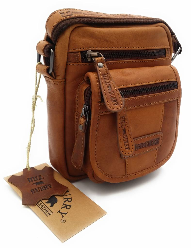 Hill Burry Hill Burry - VB10048 - 3112 - real leather - shoulder bag - crossbodytas- firm - vintage leather brown / cognac