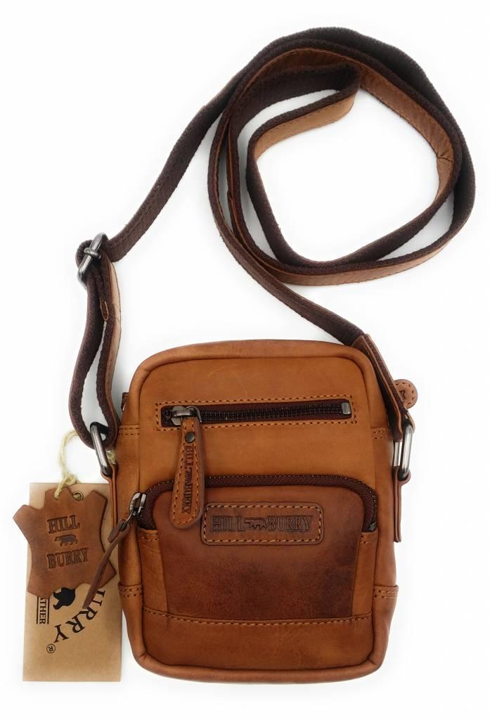 Hill Burry Hill Burry - VB100110 - 3245 - Echtleder - Schultertasche - crossbodytas- Firma - Vintage-Leder braun / cognac
