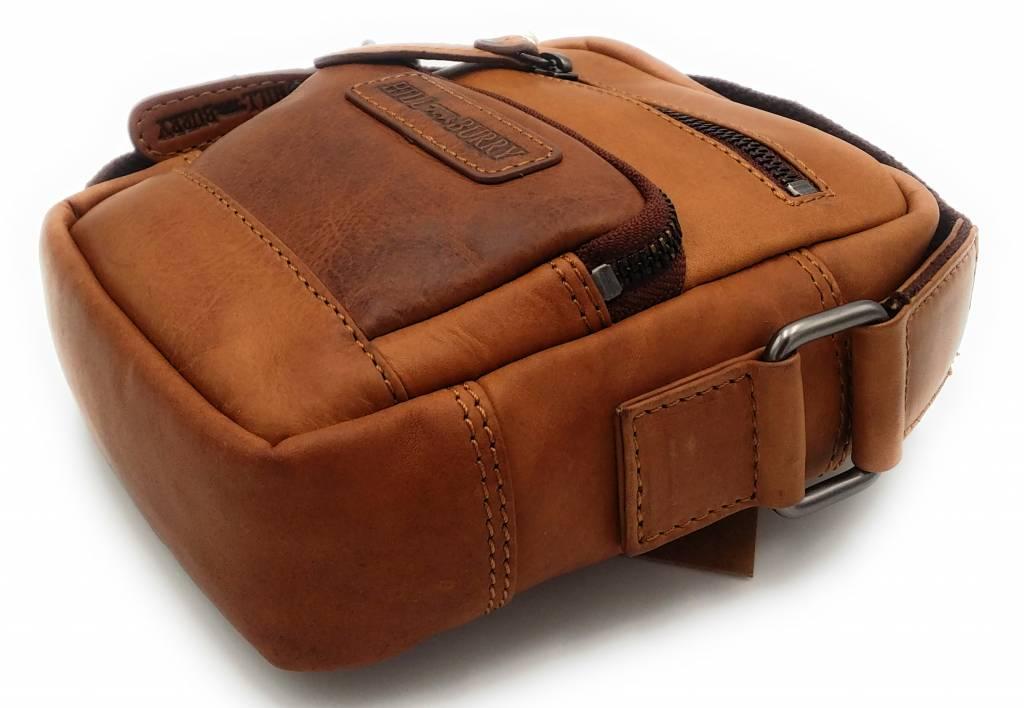 Hill Burry Hill Burry - VB100110 - 3245 - echt leren - schoudertas – crossbodytas- stevig - vintage leder- bruin /cognac