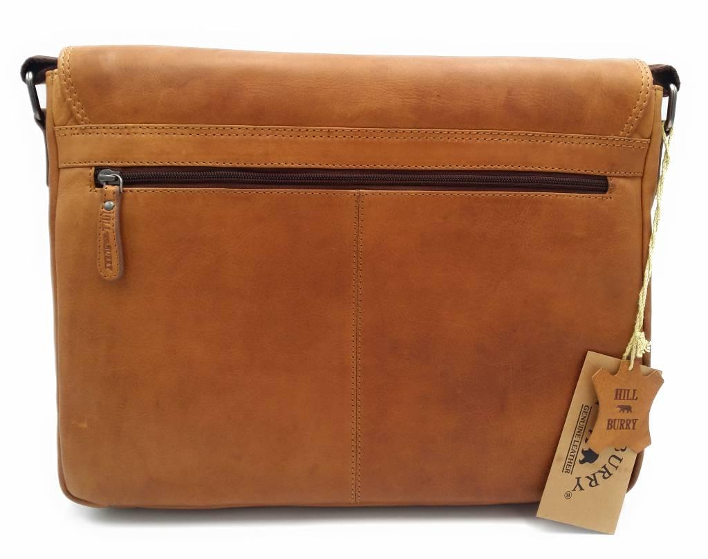 Hill Burry Hill Burry - VB10062 - 3062B - wirklich lernen - Schultertasche - werktas- Firma - Vintage-Leder braun / cognac