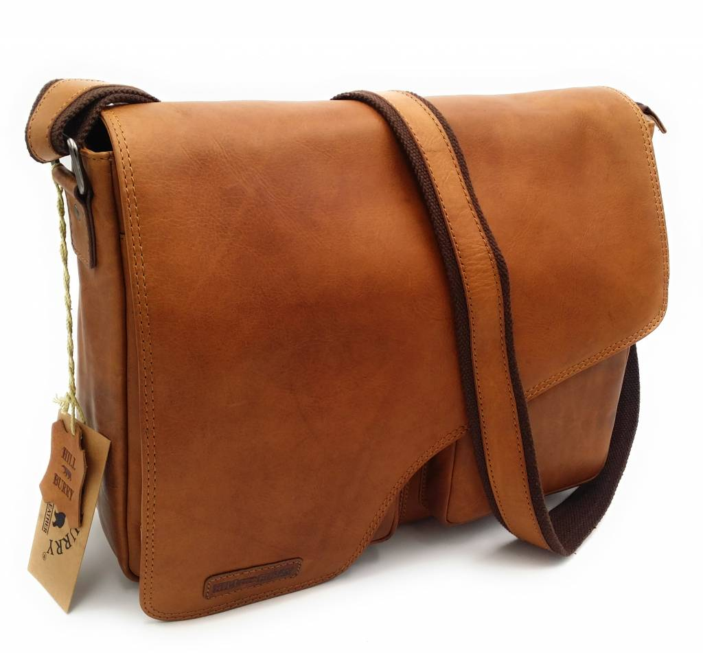 Hill Burry Hill Burry - VB10062 - 3062B - really learn - shoulder bag - werktas- firm - vintage leather brown / cognac